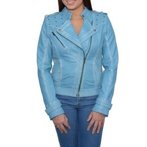 DISTRESSED BLUE LEATHER STUDDED MOTO JACKET NWOT